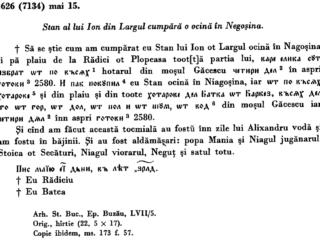 Ocină în Negoșina, 1626